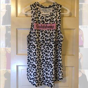 Goldsheep white black leopard sleeveless tunic